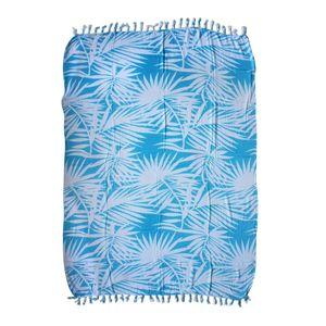Sky Blue Leaf Print 100% Rayon Sarong (71x47 in)