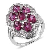 Pure Pink Mystic Topaz, White Topaz Platinum Over Sterling Silver Split Ring (Size 5.0) TGW 7.40 cts.