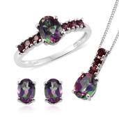 Northern Lights Mystic Topaz, Orissa Rhodolite Garnet Platinum Over Sterling Silver Ring (Size 9), Earrings and Pendant With Chain (20 in) TGW 5.75 cts.