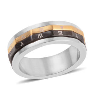 ION Plated YG, Black and Stainless Steel Spinner Ring (Size 5.5)
