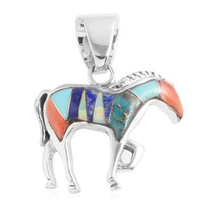 Santa Fe Style Lapis Lazuli, Multi Gemstone Sterling Silver Horse Pendant without Chain TGW 2.50 cts.