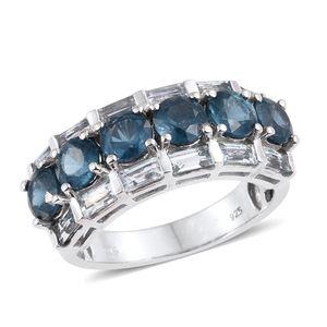 Teal Kyanite, Espirito Santo Aquamarine Platinum Over Sterling Silver Ring (Size 5.0) TGW 4.95 cts.