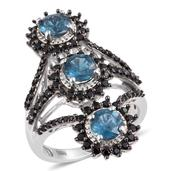 Teal Kyanite, Thai Black Spinel Platinum Over Sterling Silver Openwork Elongated Ring (Size 6.0) TGW 4.53 cts.