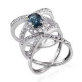 Teal Kyanite, White Topaz Platinum Over Sterling Silver Ring (Size 6.0) TGW 4.80 cts.