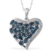 Teal Kyanite, White Topaz Platinum Over Sterling Silver Heart Pendant With Chain (20 in) TGW 4.89 cts.