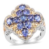 Tanzanite 14K YG and Platinum Over Sterling Silver Openwork Ring (Size 8.0) TGW 4.100 cts.