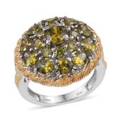 Mega Clearance KARIS Collection - Simulated Green Diamond ION Plated 18K YG and Platinum Bond Brass Ring (Size 6.0) TGW 8.700 cts.
