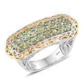 Ambanja Demantoid Garnet 14K YG and Platinum Over Sterling Silver Ring (Size 6.0) TGW 3.500 cts.