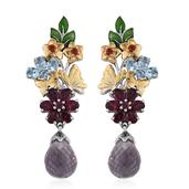 Rose De France Amethyst, Multi Gemstone 14K YG and Platinum Over Sterling Silver Drop Earrings TGW 16.50 cts.