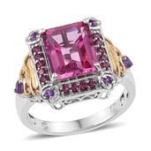Pure Pink Mystic Topaz, Orissa Rhodolite Garnet, Amethyst 14K YG and Platinum Over Sterling Silver Ring (Size 10.0) TGW 6.475 cts.
