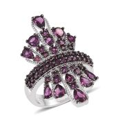 Jewel Studio by Shweta Orissa Rhodolite Garnet Platinum Over Sterling Silver Ring (Size 5.0) TGW 7.280 cts.