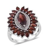 Mozambique Garnet, White Topaz Platinum Over Sterling Silver Ring (Size 6.0) TGW 5.650 cts.