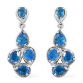 Malgache Neon Apatite Platinum Over Sterling Silver Earrings TGW 3.040 cts.