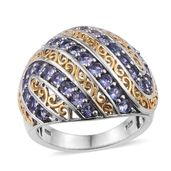 Tanzanite 14K YG and Platinum Over Sterling Silver Round Dome Ring (Size 6.0) TGW 2.15 cts.