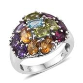 Rainbow Gems Multi Gemstone Platinum Over Sterling Silver Ring (Size 9.0) TGW 6.470 cts.