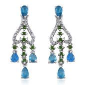 Malgache Neon Apatite, Russian Diopside, White Topaz Platinum Over Sterling Silver Dangle Earrings TGW 4.56 cts.