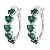 Lab Created Emerald Platinum Over Sterling Silver Hoop Earrings TGW 3.80 Cts.