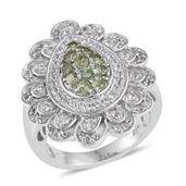 Ambanja Demantoid Garnet, White Topaz Platinum Over Sterling Silver Ring (Size 7.0) TGW 1.920 cts.