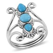 Artisan Crafted Arizona Sleeping Beauty Turquoise Sterling Silver Elongated Split Ring (Size 7.0) TGW 1.800 cts.