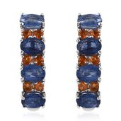 Himalayan Kyanite, Jalisco Fire Opal Platinum Over Sterling Silver J-Hoop Earrings TGW 5.83 cts.