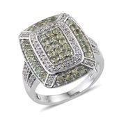 Ambanja Demantoid Garnet, White Zircon Platinum Over Sterling Silver Ring (Size 5.0) TGW 2.720 cts.