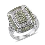 Ambanja Demantoid Garnet, White Zircon Platinum Over Sterling Silver Ring (Size 6.0) TGW 2.720 cts.