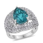 Capri Blue Quartz, White Topaz Platinum Over Sterling Silver Ring (Size 9.0) TGW 8.610 cts.