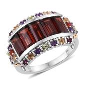 Mozambique Garnet, Multi Gemstone 14K YG and Platinum Over Sterling Silver Ring (Size 10.0) TGW 6.600 cts.