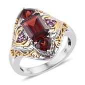 Mozambique Garnet, Madagascar Pink Sapphire 14K YG and Platinum Over Sterling Silver Ring (Size 9.0) TGW 4.400 cts.