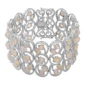 Everlasting by Katie Rooke Ethiopian Welo Opal Sterling Silver Openwork Bracelet (7.50 In) TGW 24.00 cts.