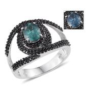 Teal Kyanite, Thai Black Spinel Platinum Over Sterling Silver Ring (Size 8.0) TGW 3.150 cts.
