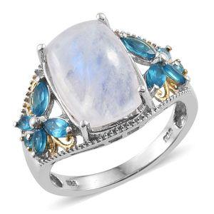 Sri Lankan Rainbow Moonstone, Malgache Neon Apatite 14K YG and Platinum Over Sterling Silver Ring (Size 7.0) TGW 9.960 cts.