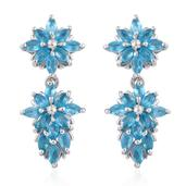 Malgache Neon Apatite Platinum Over Sterling Silver Earrings TGW 3.00 Cts.