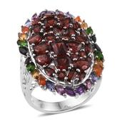 Mozambique Garnet, Multi Gemstone Platinum Over Sterling Silver Ring (Size 9.0) TGW 11.830 cts.
