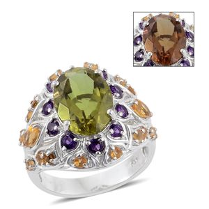 Autumn Alexite, Brazilian Citrine, Amethyst Platinum Over Sterling Silver Ring (Size 9.0) TGW 7.35 cts.