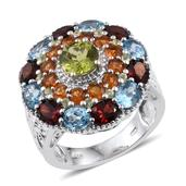 Rainbow Gems Hebei Peridot, Multi Gemstone Platinum Over Sterling Silver Ring (Size 6.0) TGW 8.090 cts.