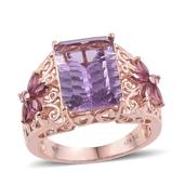 Dan's Collector Deal Bahia Amethyst, Orissa Rhodolite Garnet 14K RG Over Sterling Silver Openwork Ring (Size 8.0) TGW 7.55 cts.