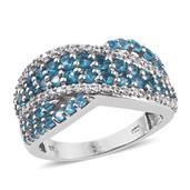 Malgache Neon Apatite, White Zircon Platinum Over Sterling Silver Ring (Size 7.0) TGW 2.230 cts.
