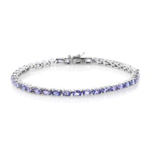 Tanzanite Platinum Over Sterling Silver Tennis Bracelet (8.00 In) TGW 9.75 cts.