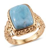 Larimar 14K YG Over Sterling Silver Ring (Size 10.0) TGW 11.550 cts.