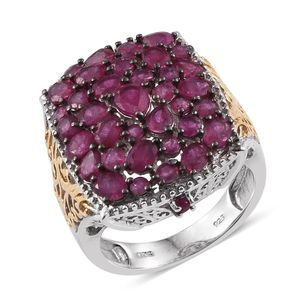 Niassa Ruby 14K YG and Platinum Over Sterling Silver Openwork Cluster Statement Ring (Size 7.0) TGW 7.250 cts.