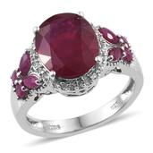 Niassa Ruby, Ruby, White Topaz Platinum Over Sterling Silver Ring (Size 7.0) TGW 7.430 cts.