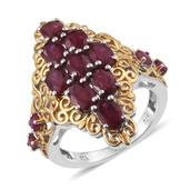 Niassa Ruby, Ruby 14K YG and Platinum Over Sterling Silver Openwork Elongated Ring (Size 7.0) TGW 6.55 cts.