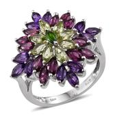 Rainbow Gems Multi Gemstone Platinum Over Sterling Silver Floral Ring (Size 7.0) TGW 5.670 cts.