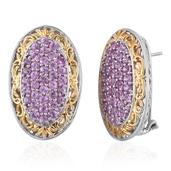 Royal Jaipur Madagascar Pink Sapphire, Ruby Signature 14K YG and Platinum Over Sterling Silver Omega Clip Earrings TGW 5.64 cts.