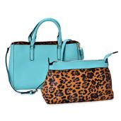 Buyer's Pick J Francis - Mint Green and Brown Leopard Print Faux Leather Handbag with Matching Set (16x5x10 in)