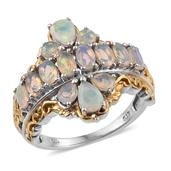 Ethiopian Welo Opal 14K YG and Platinum Over Sterling Silver Ring (Size 8.0) TGW 2.420 cts.