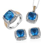 Caribbean Quartz, White Zircon 14K YG and Platinum Over Sterling Silver Stud Earrings, Ring (Size 6) and Pendant With Chain (20 in) TGW 26.96 cts.