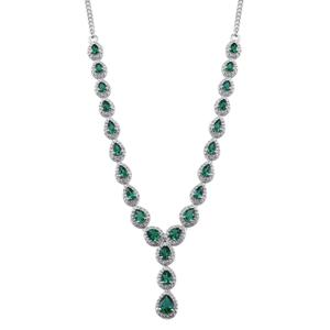 Lab Created Emerald, White Zircon Platinum Over Sterling Silver Princess Drop Necklace (18 in) TGW 8.44 cts.
