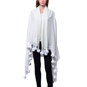 Ivory 100% Acrylic Throw-Shawl With Pom Pom Trim (64x52 in)